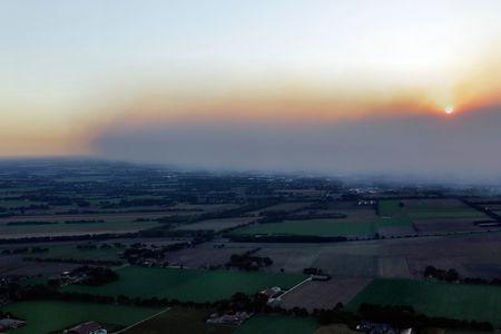 Luftaufnahme Feuer im Moor