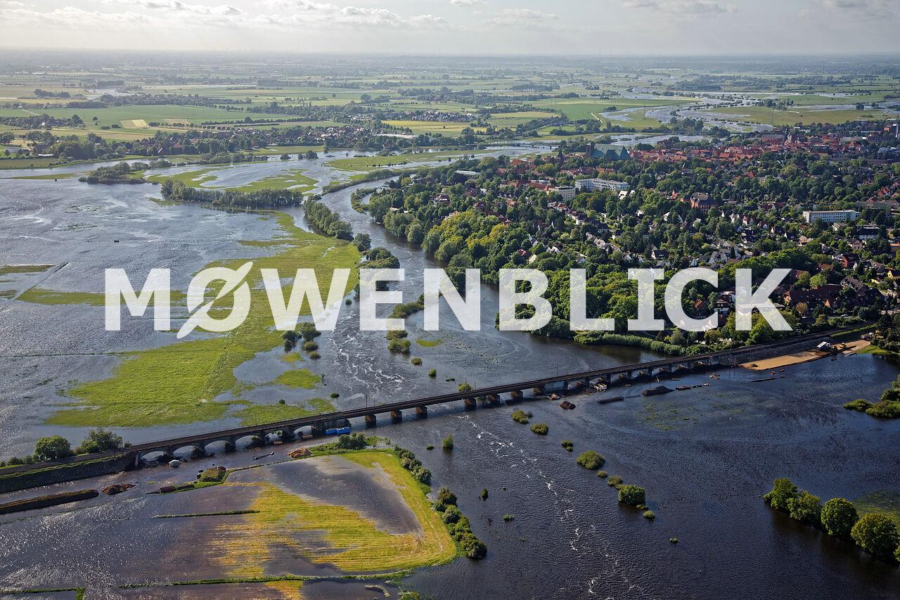 Überschwemmte Aller Luftbild
