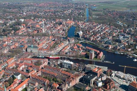 Luftaufnahme Delft Binnenhafen Fernsehturm Rotes Siel