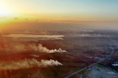 Luftaufnahme Osterfeuer