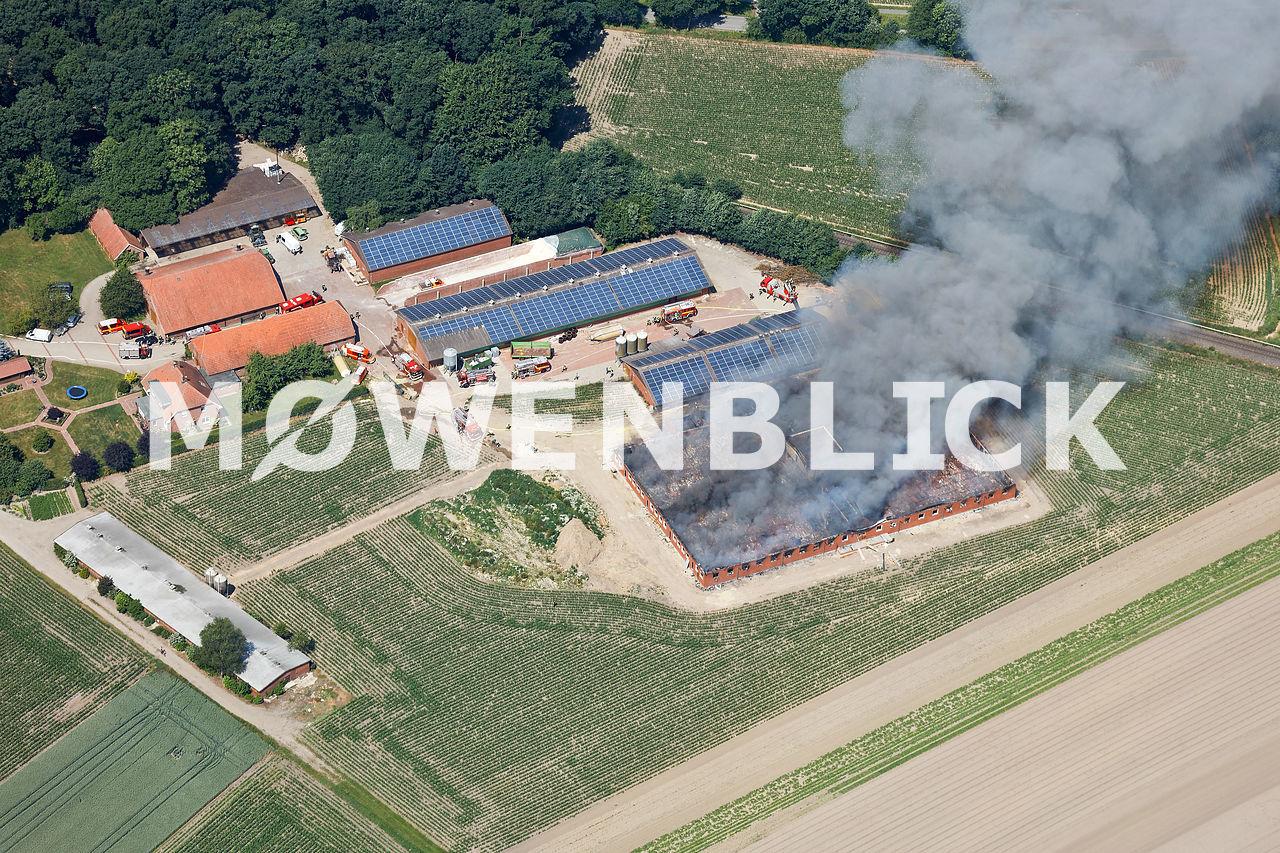 Brand des Schweinestalls Luftbild