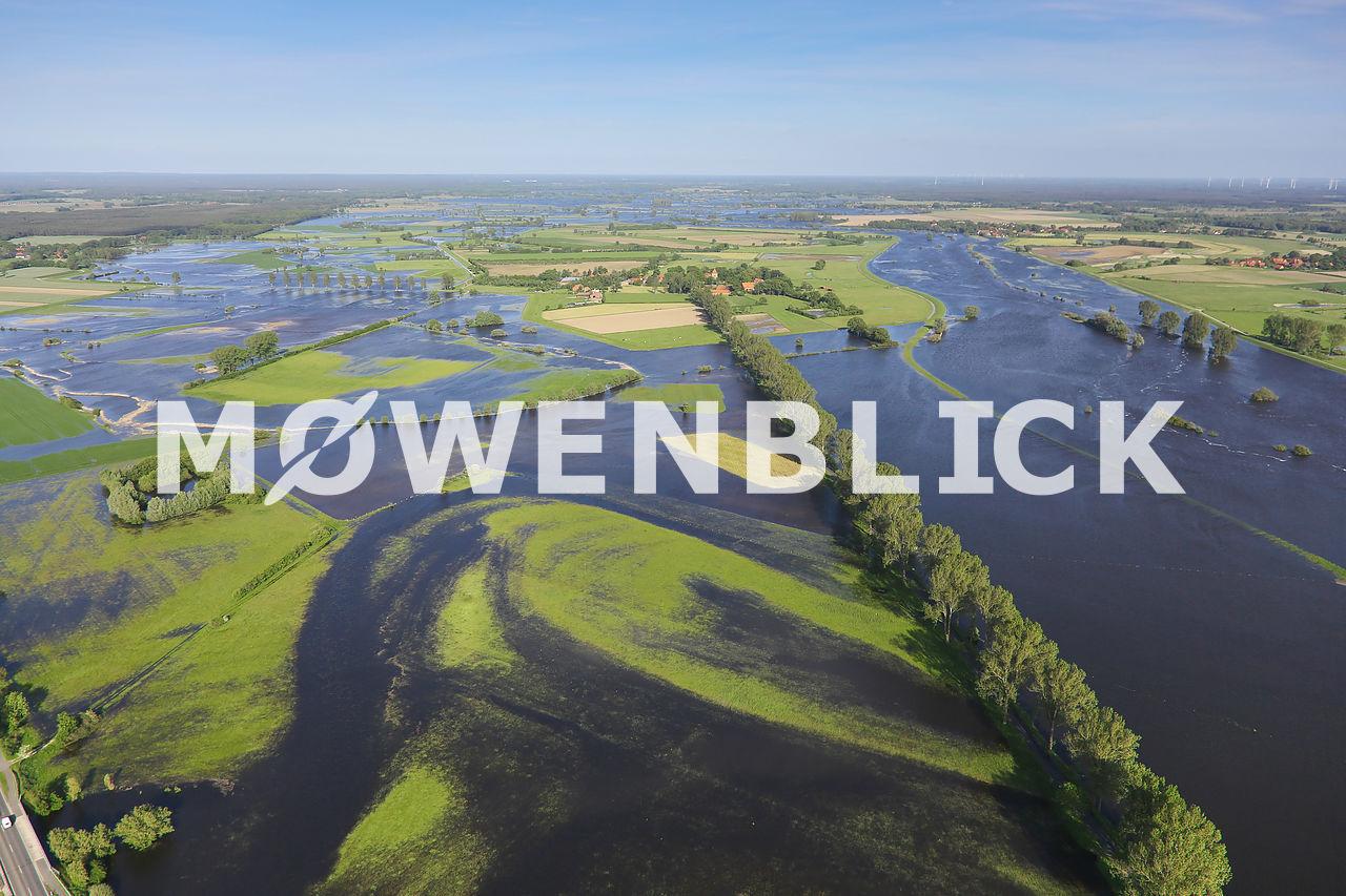 Überschwemmung der Aller Luftbild