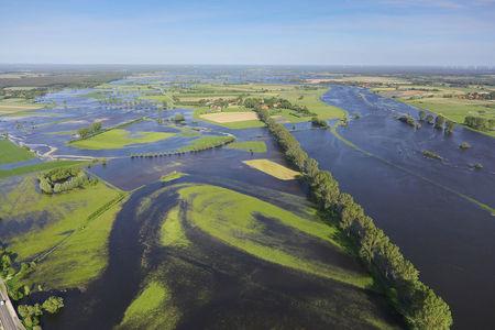 Luftaufnahme Überschwemmung der Aller