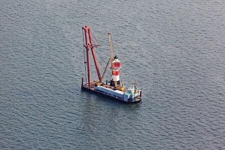 Luftaufnahme Sanierungsarbeiten Leuchtturm Roter Sand
