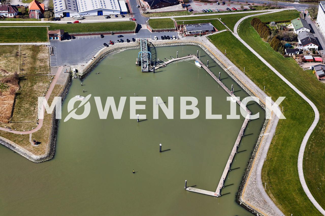 versunkener Steg im Nassauhafen Luftbild