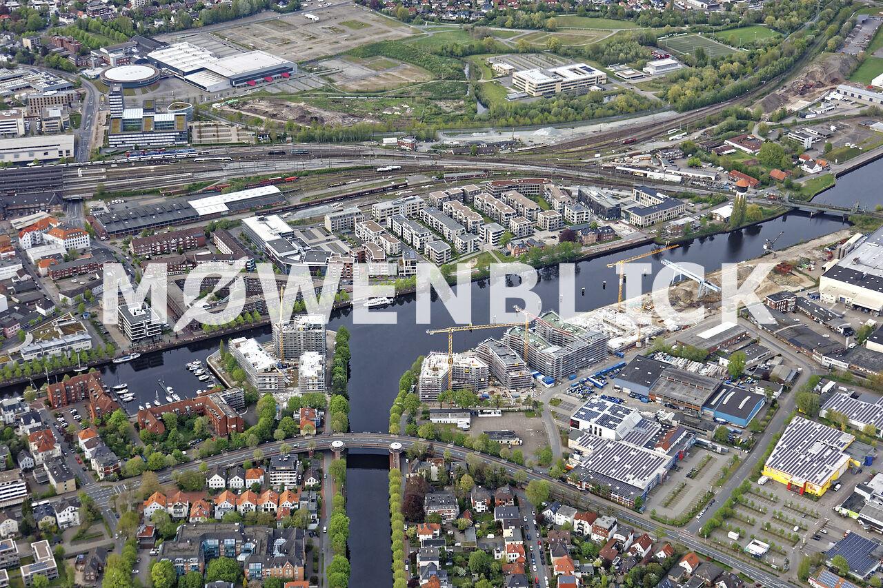 Neubauten am Hafen Luftbild