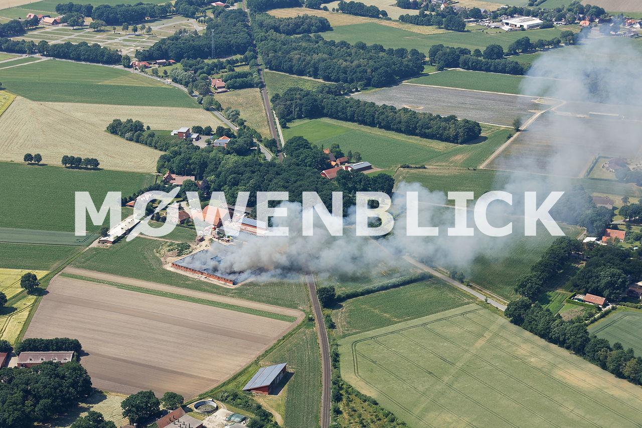 Schweinestallbrand Luftbild