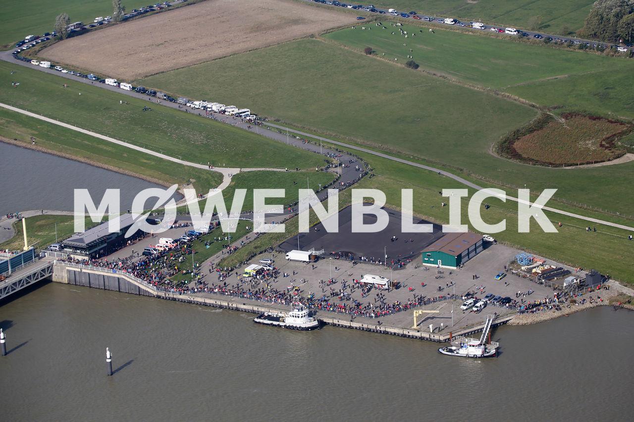 Ballastwasserspeicher beim Emssperrwerk Luftbild