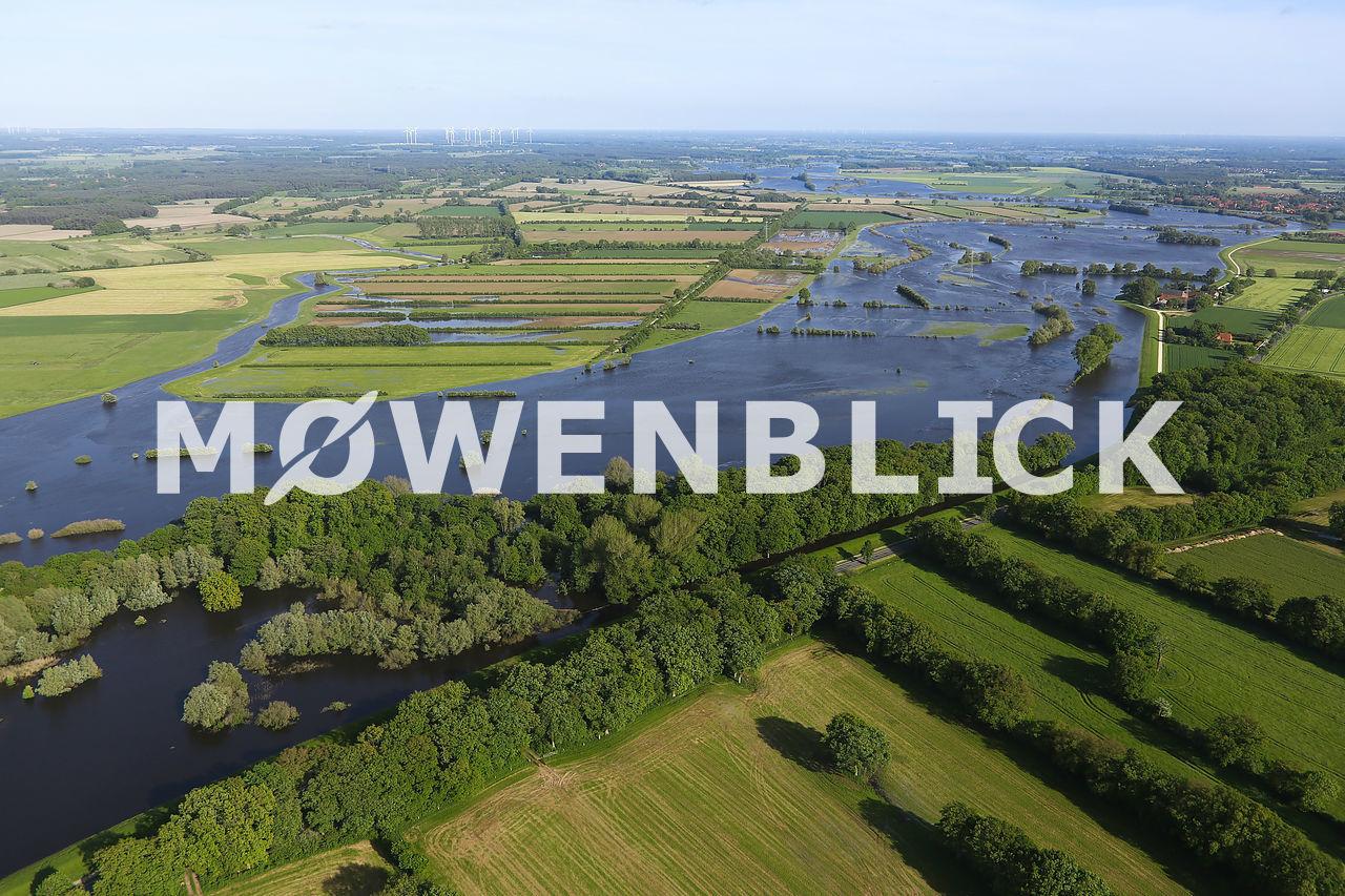 Aller bei Überflutung Luftbild