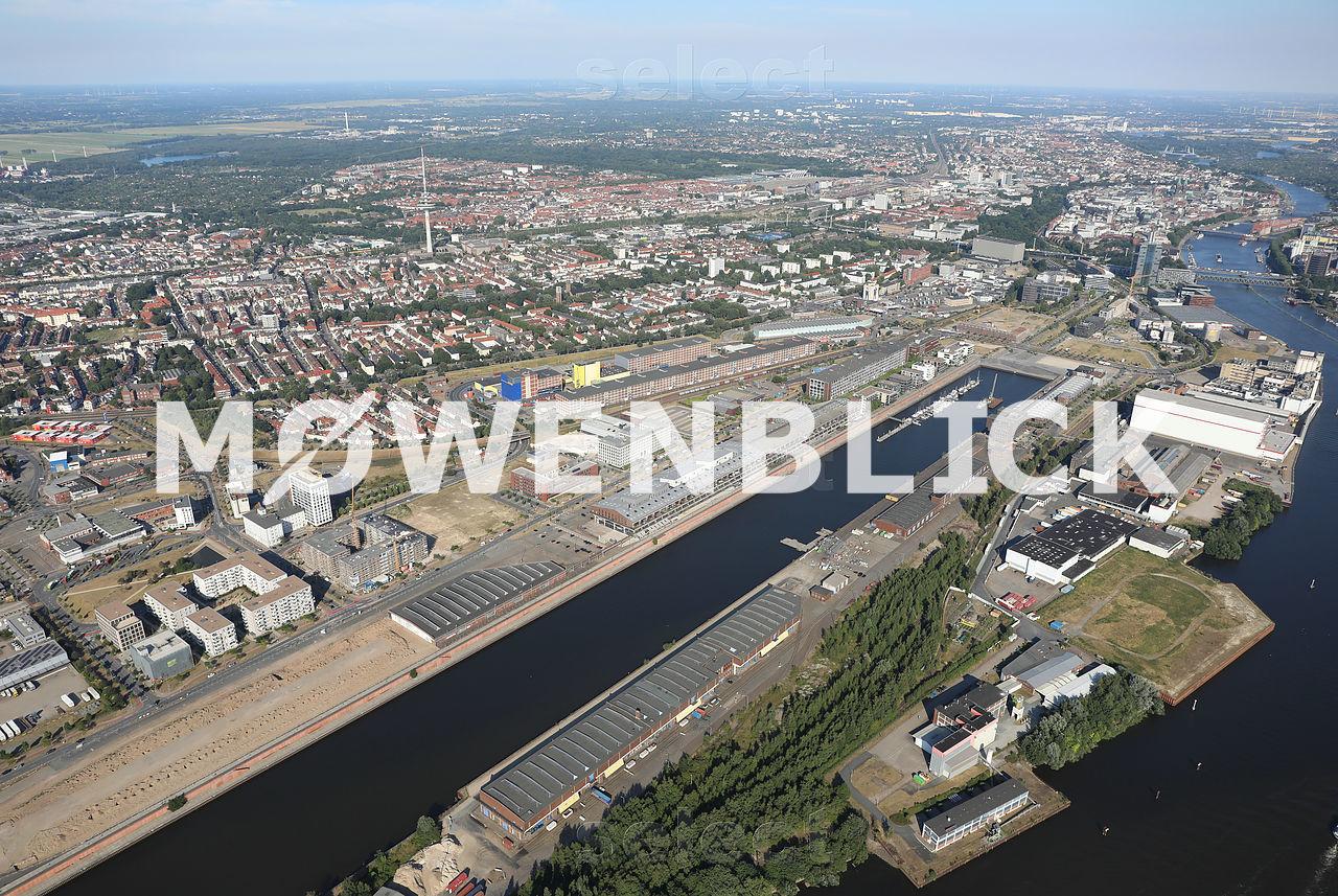 Weser mit Europahafen Luftbild
