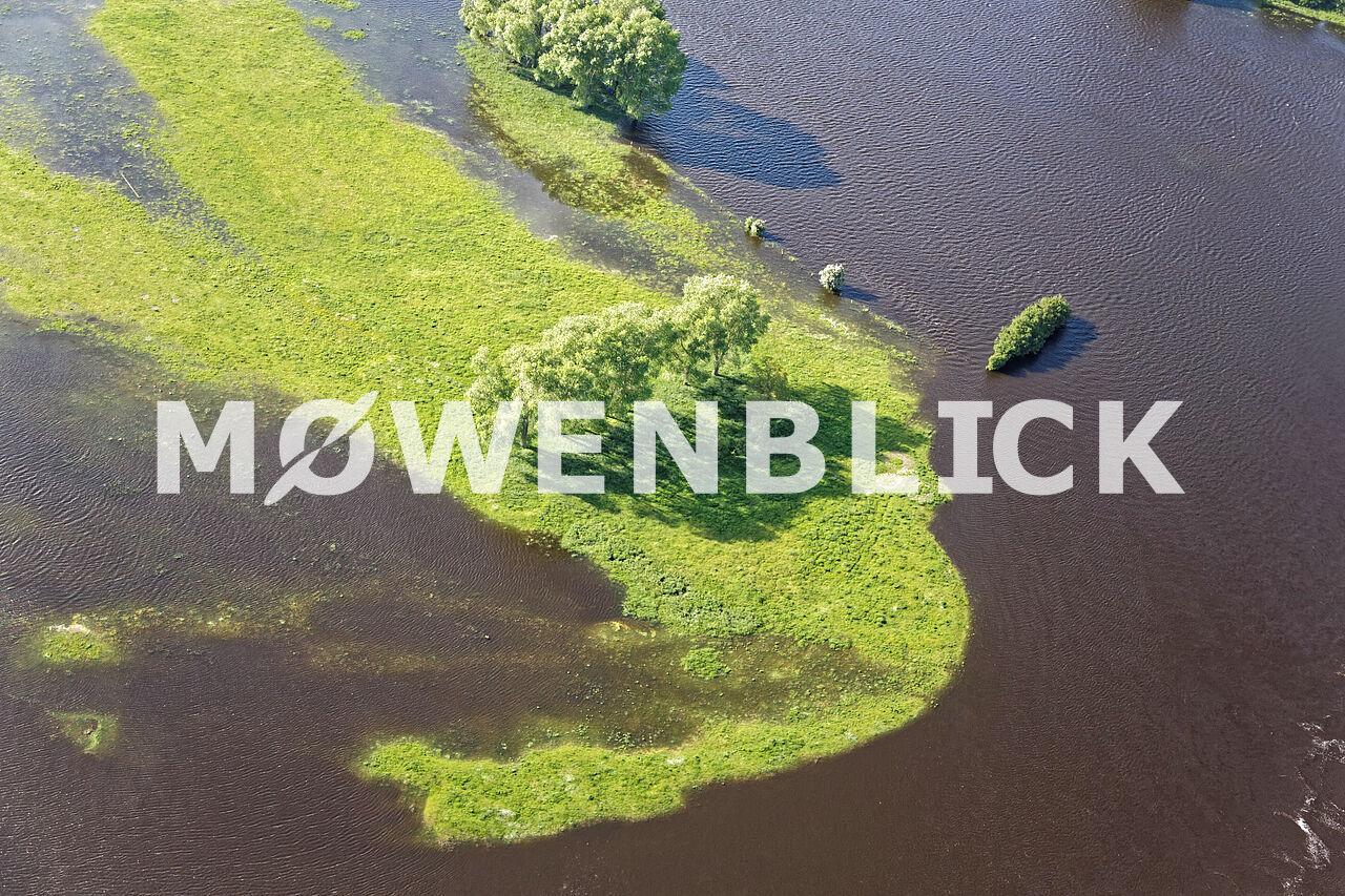 Überschwemmte Wiesen Luftbild