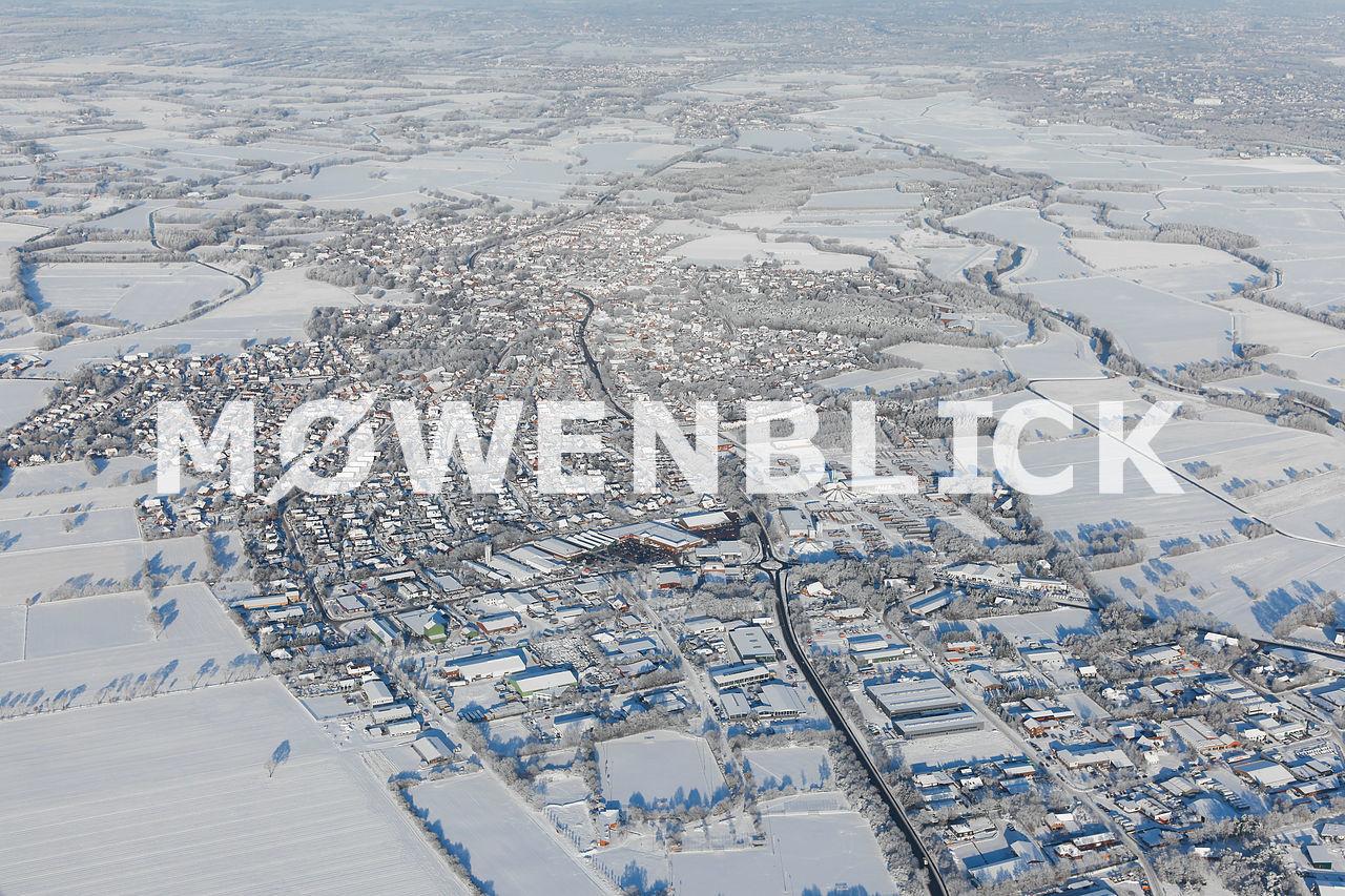 Die beschneite Stadt Luftbild
