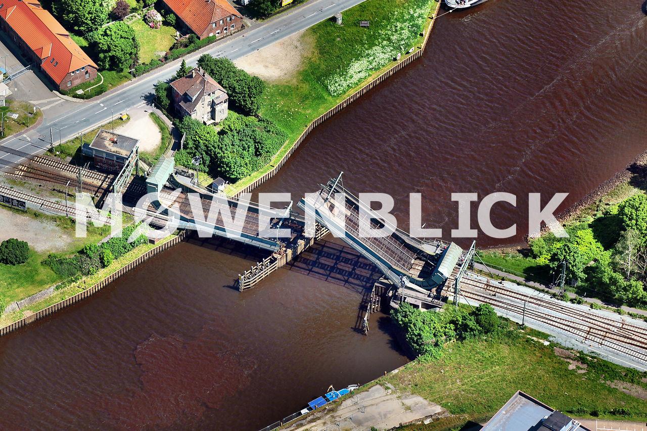 Bahnbrücke über die Hunte Luftbild