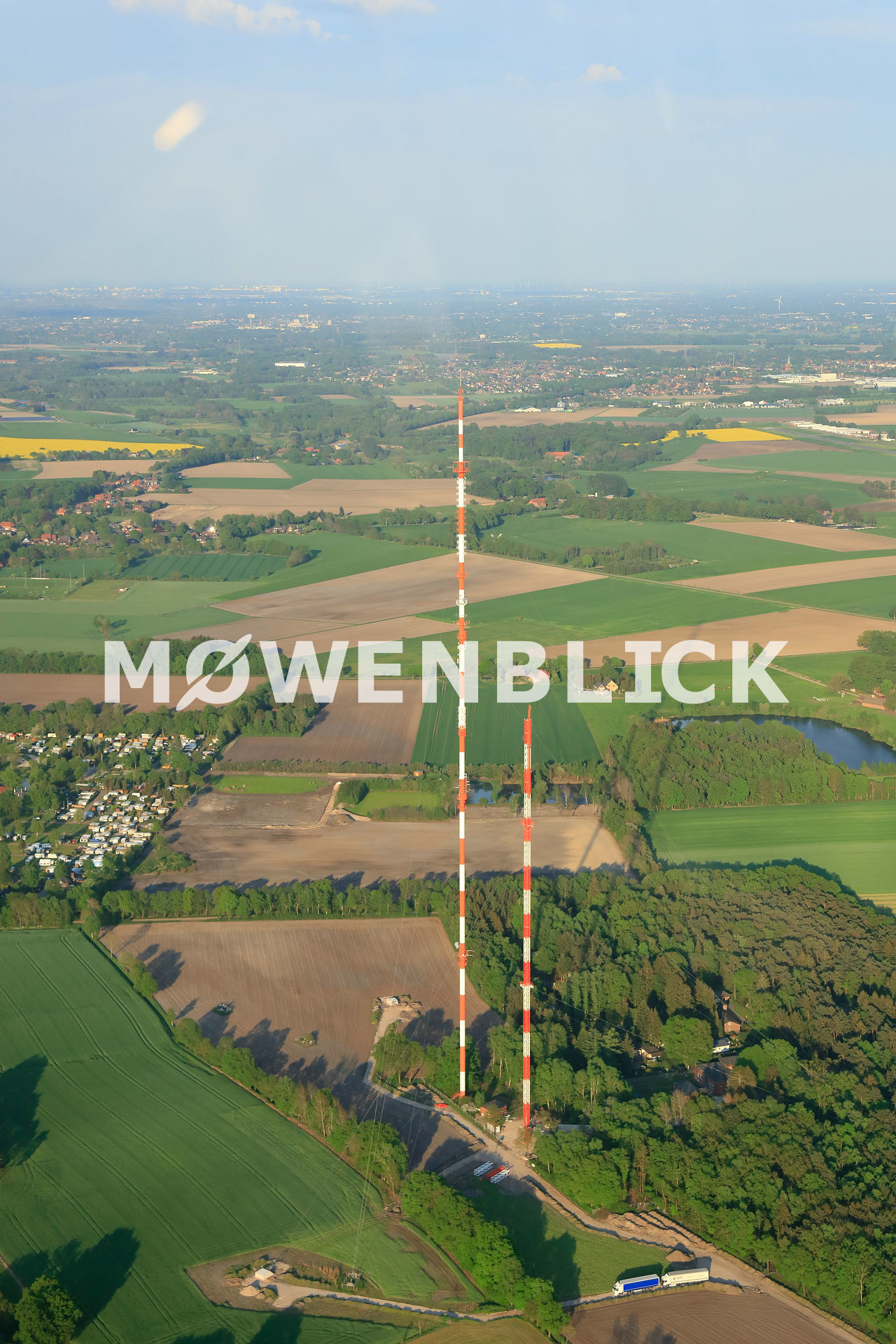 Erneuerung NDR Sendemast Steinkimmen Luftbild
