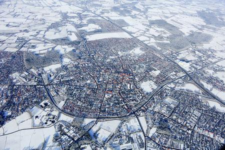 Luftaufnahme Westerstede verschneit
