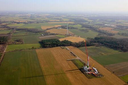 Luftaufnahme Neubau Windkraftanlagen am Flugplatz Ganderkesee