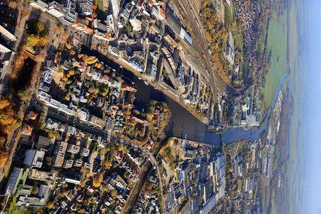 Luftaufnahme Rhein Umschlag