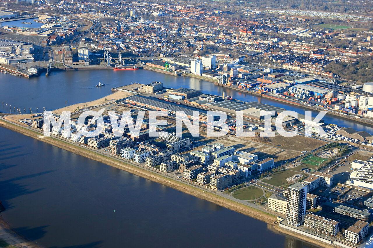 Neubauten Überseestadt Luftbild