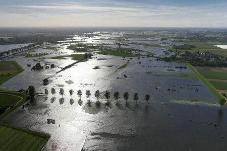 Luftaufnahme Durch Hochwasser überschwemmte Wiesen