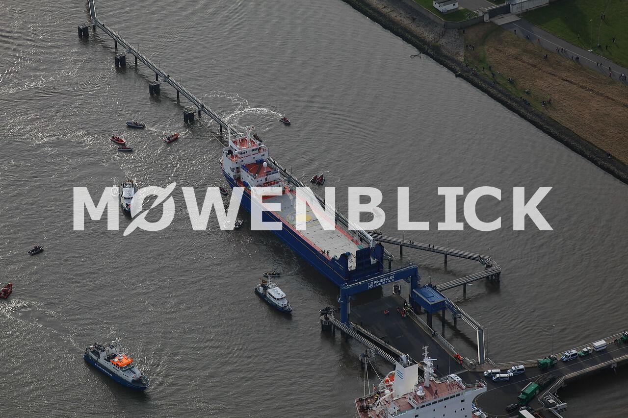 Atomtransport auf der Weser Luftbild