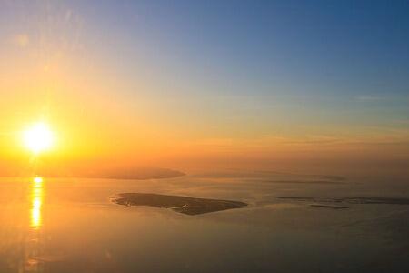 Luftaufnahme Alte Mellum im Sonnenuntergang