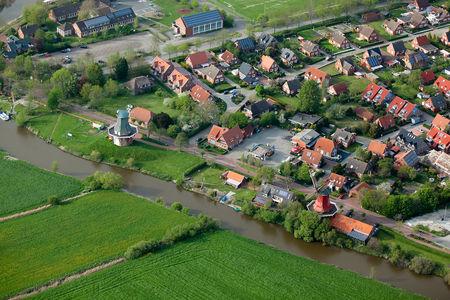 Luftaufnahme Die Zwillingsmühlen