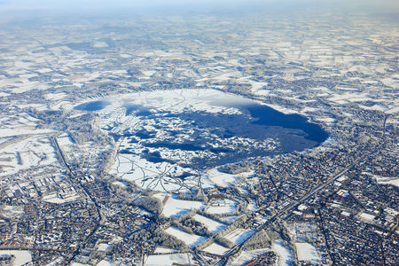 Luftaufnahme Zwischenahner Meer gefroren