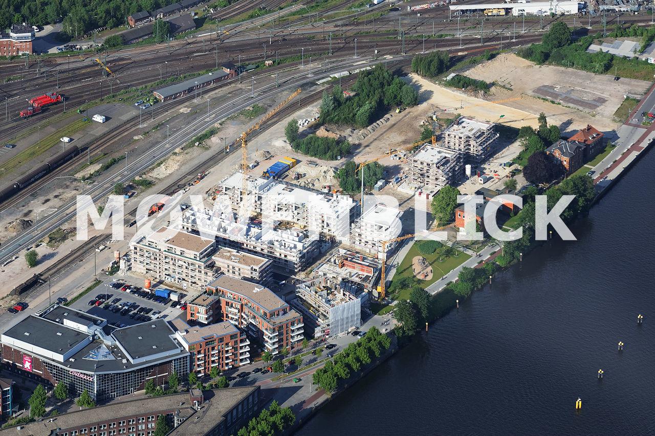 Stau Alter Stadthafen Luftbild