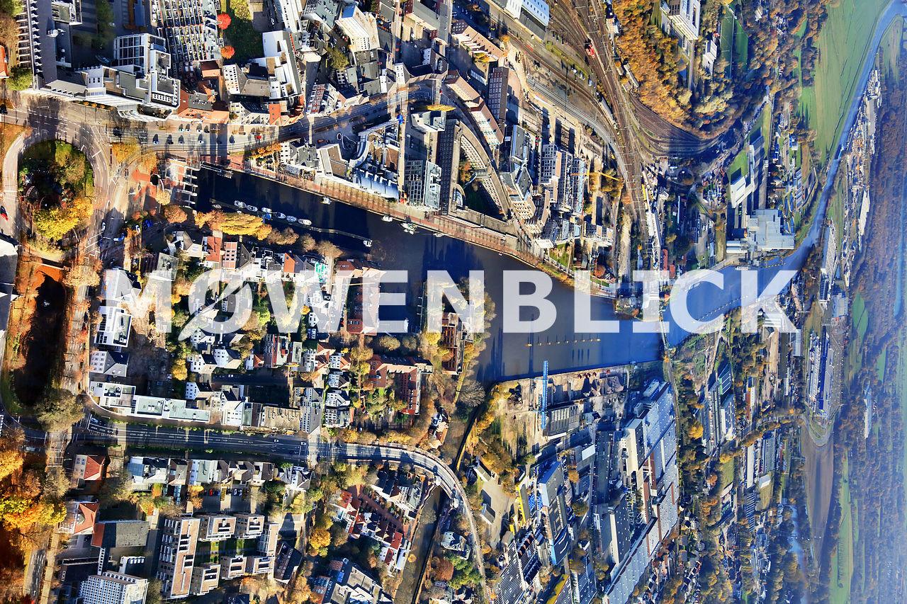 Hafen Stau Luftbild