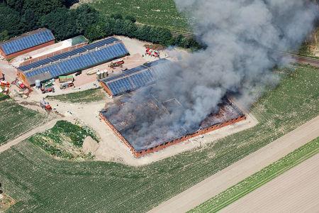Luftaufnahme Abgebrannter Schweinestall