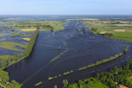 Luftaufnahme Allerwiesen bei Überschwemmung