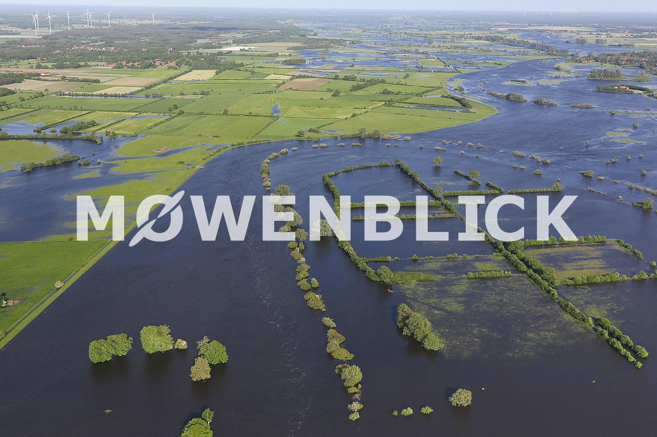 Aller während der Überschwemmung Luftbild